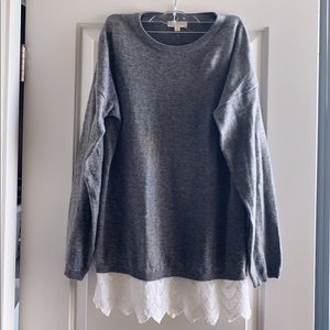 Gray and White Lace Sweater by Promesa